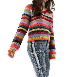RELAIS Vintage Colorful Striped Knit Sweater #AS8